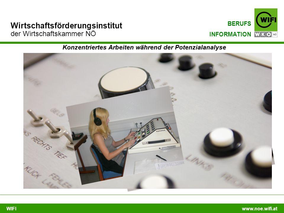 WIFI www.noe.wifi.at Wirtschaftsförderungsinstitut der Wirtschaftskammer NÖ BERUFS INFORMATION Konzentriertes Arbeiten während der Potenzialanalyse