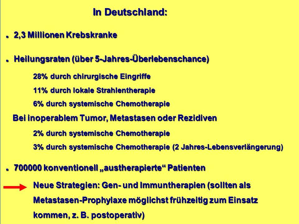 In Deutschland:. 2,3 Millionen Krebskranke.