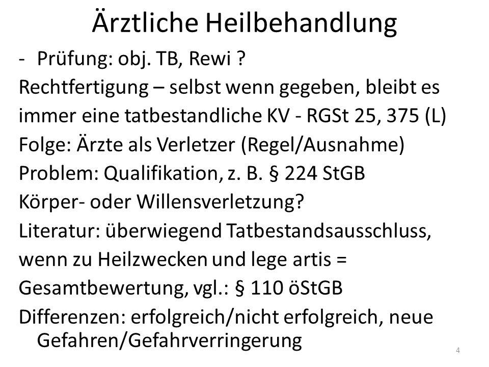 Ärztliche Heilbehandlung -Prüfung: obj. TB, Rewi .