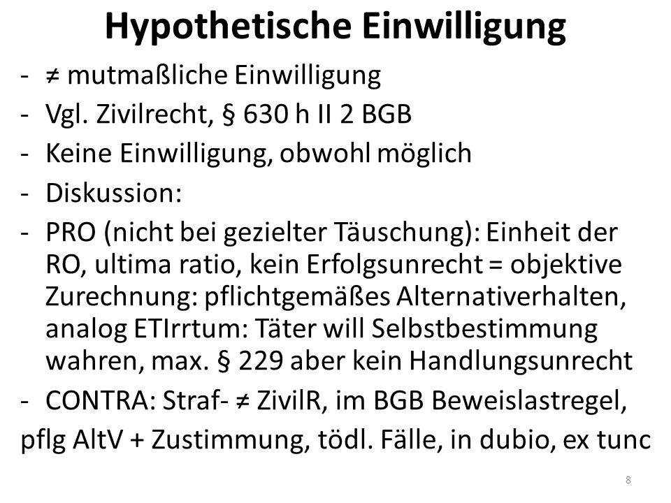 Hypothetische Einwilligung -≠ mutmaßliche Einwilligung -Vgl.