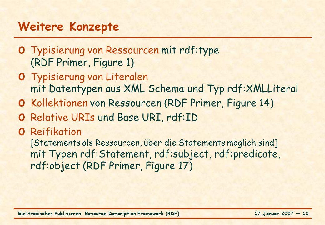17.Januar 2007 ― 10Elektronisches Publizieren: Resource Description Framework (RDF) Weitere Konzepte o Typisierung von Ressourcen mit rdf:type (RDF Pr