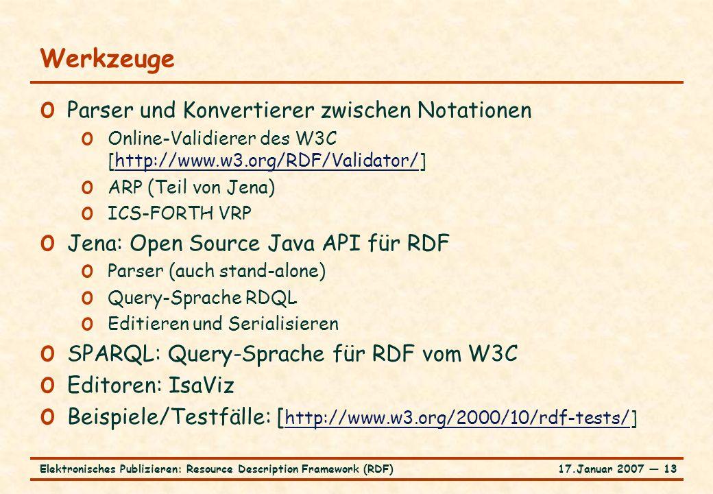 17.Januar 2007 ― 13Elektronisches Publizieren: Resource Description Framework (RDF) Werkzeuge o Parser und Konvertierer zwischen Notationen o Online-V