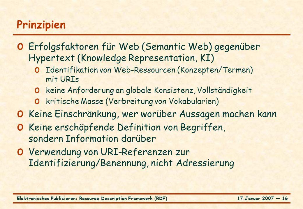 17.Januar 2007 ― 16Elektronisches Publizieren: Resource Description Framework (RDF) Prinzipien o Erfolgsfaktoren für Web (Semantic Web) gegenüber Hype