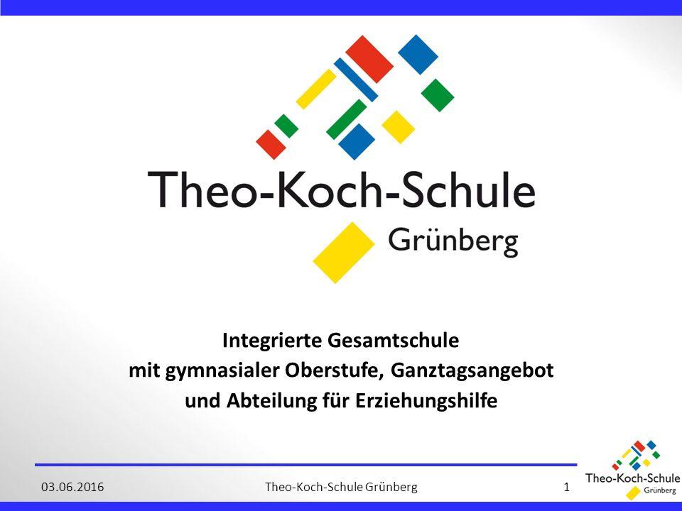 Integrierte Gesamtschule mit gymnasialer Oberstufe, Ganztagsangebot und Abteilung für Erziehungshilfe 03.06.2016Theo-Koch-Schule Grünberg1