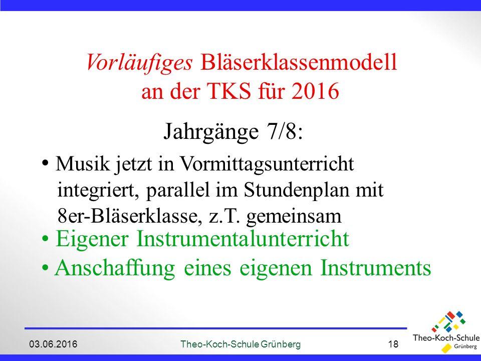 03.06.2016Theo-Koch-Schule Grünberg18 Vorläufiges Bläserklassenmodell an der TKS für 2016 Jahrgänge 7/8: Musik jetzt in Vormittagsunterricht integriert, parallel im Stundenplan mit 8er-Bläserklasse, z.T.