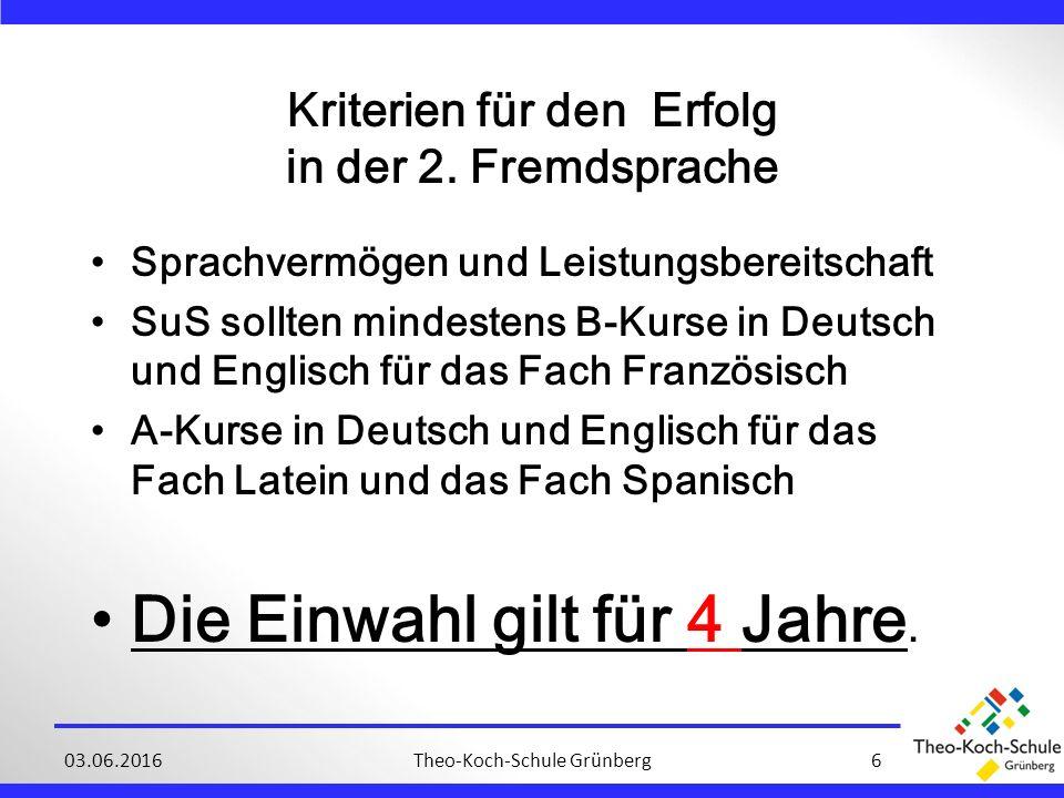 Theo-Koch-Schule Grünberg603.06.2016 Kriterien für den Erfolg in der 2.