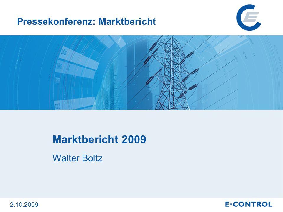 Marktbericht 2009 Der Marktbericht 2009 gibt einen Überblick über Entwicklungen und aktuelle Geschehnisse am Strom- und Gasmarkt 2008/2009.