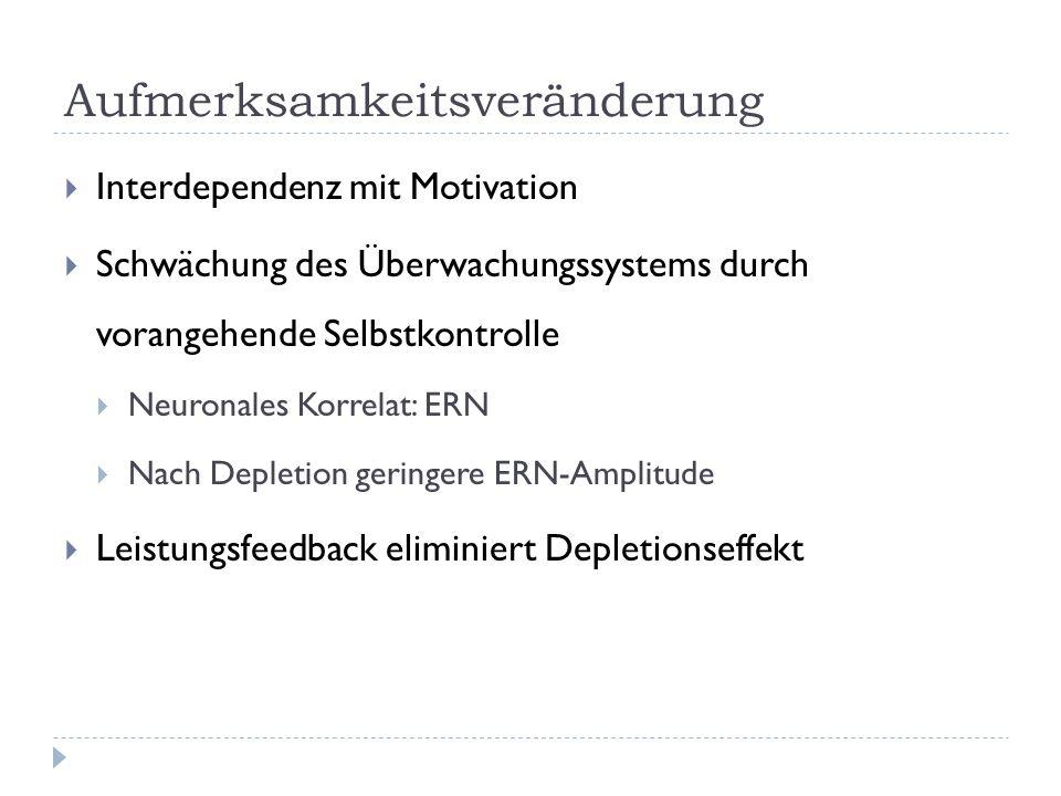 Aufmerksamkeitsveränderung  Interdependenz mit Motivation  Schwächung des Überwachungssystems durch vorangehende Selbstkontrolle  Neuronales Korrelat: ERN  Nach Depletion geringere ERN-Amplitude  Leistungsfeedback eliminiert Depletionseffekt
