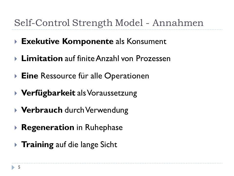 Self-Control Strength Model - Annahmen  Exekutive Komponente als Konsument  Limitation auf finite Anzahl von Prozessen  Eine Ressource für alle Operationen  Verfügbarkeit als Voraussetzung  Verbrauch durch Verwendung  Regeneration in Ruhephase  Training auf die lange Sicht 5