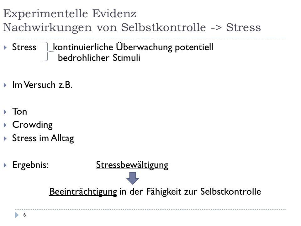 Experimentelle Evidenz Nachwirkungen von Selbstkontrolle -> Stress  Stress kontinuierliche Überwachung potentiell bedrohlicher Stimuli  Im Versuch z.B.