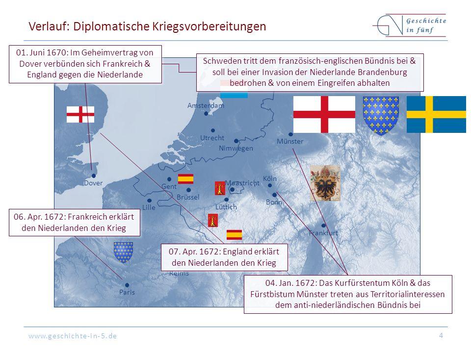 www.geschichte-in-5.de BrüsselLüttich Köln BonnFrankfurtGentLille Amsterdam LuxemburgParisReimsDoverMünsterUtrechtNimwegen Maastricht Verlauf: Diplomatische Kriegsvorbereitungen 4 01.
