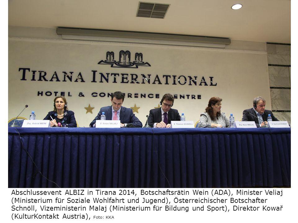 Abschlussevent ALBIZ in Tirana 2014, Botschaftsrätin Wein (ADA), Minister Veliaj (Ministerium für Soziale Wohlfahrt und Jugend), Österreichischer Bots