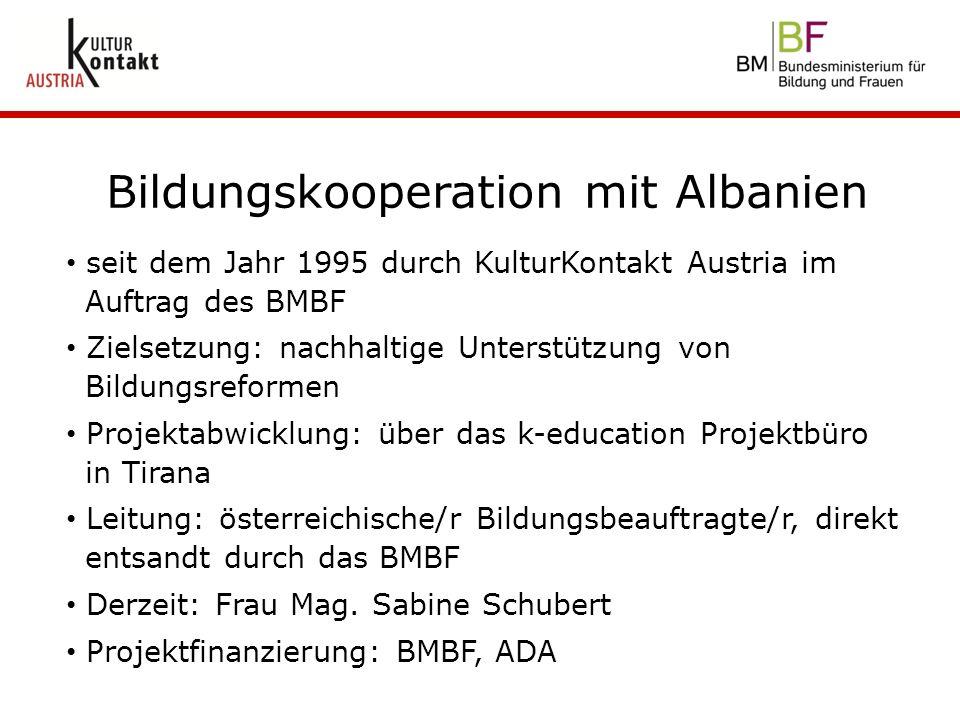 seit dem Jahr 1995 durch KulturKontakt Austria im Auftrag des BMBF Zielsetzung: nachhaltige Unterstützung von Bildungsreformen Projektabwicklung: über