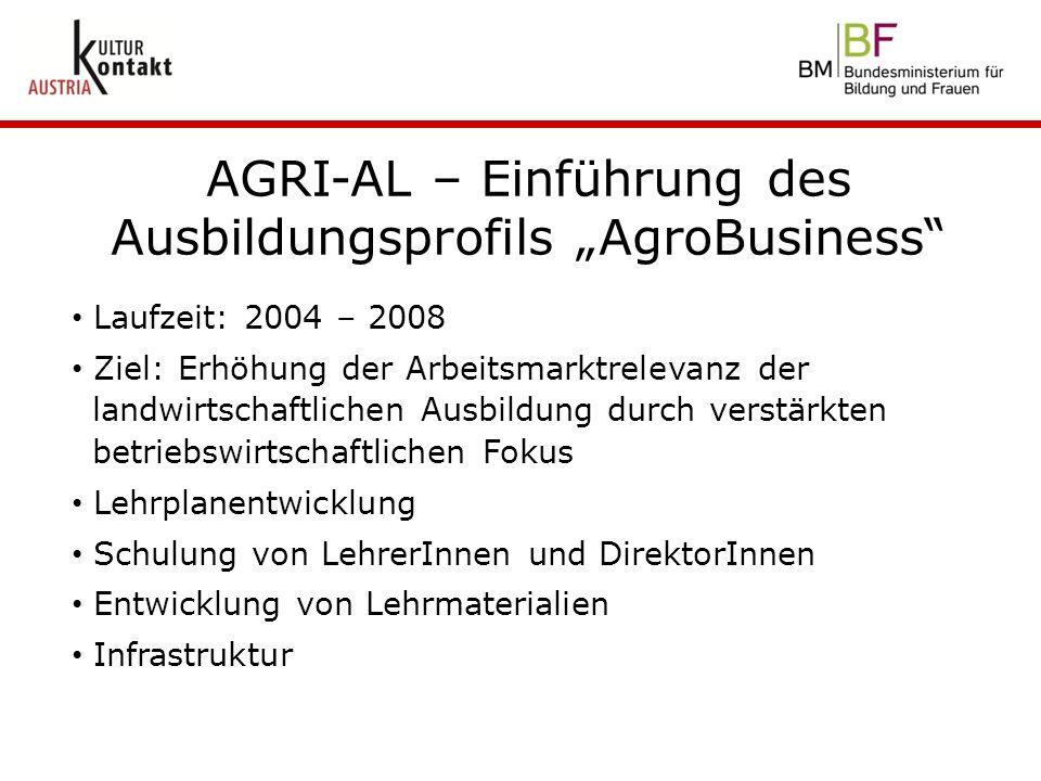 """AGRI-AL – Einführung des Ausbildungsprofils """"AgroBusiness"""" Laufzeit: 2004 – 2008 Ziel: Erhöhung der Arbeitsmarktrelevanz der landwirtschaftlichen Ausb"""