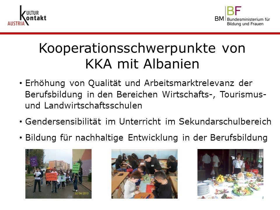 Kooperationsschwerpunkte von KKA mit Albanien Erhöhung von Qualität und Arbeitsmarktrelevanz der Berufsbildung in den Bereichen Wirtschafts-, Tourismu