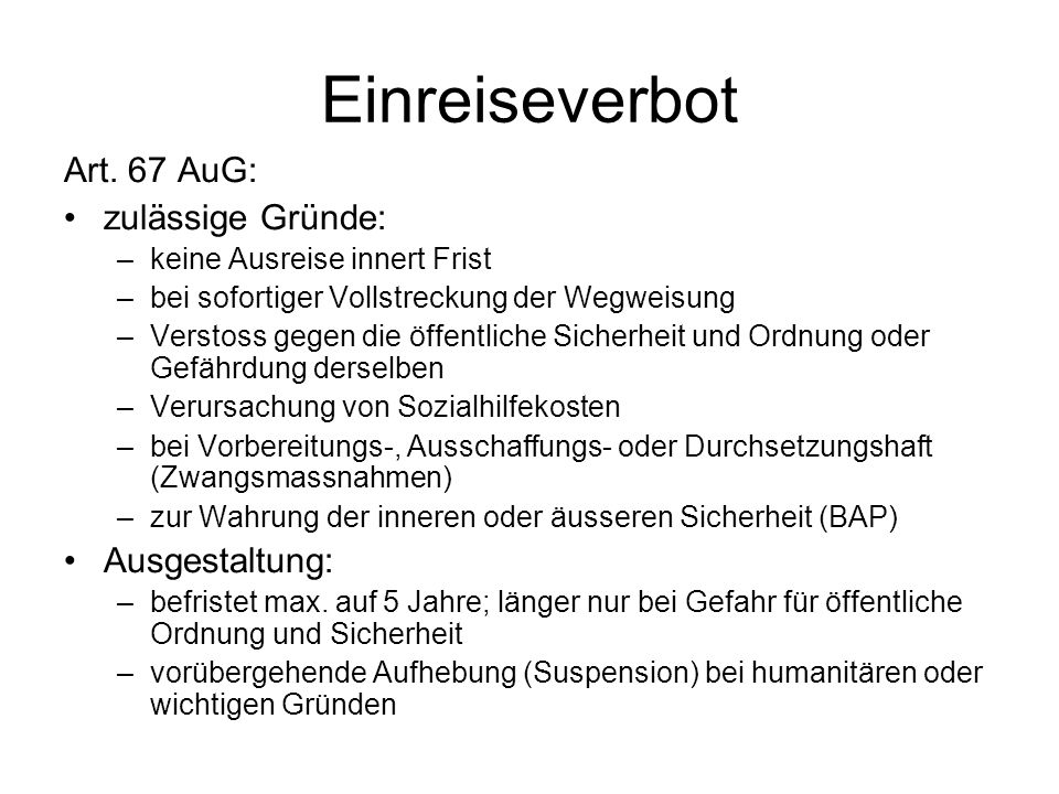 Einreiseverbot Art.