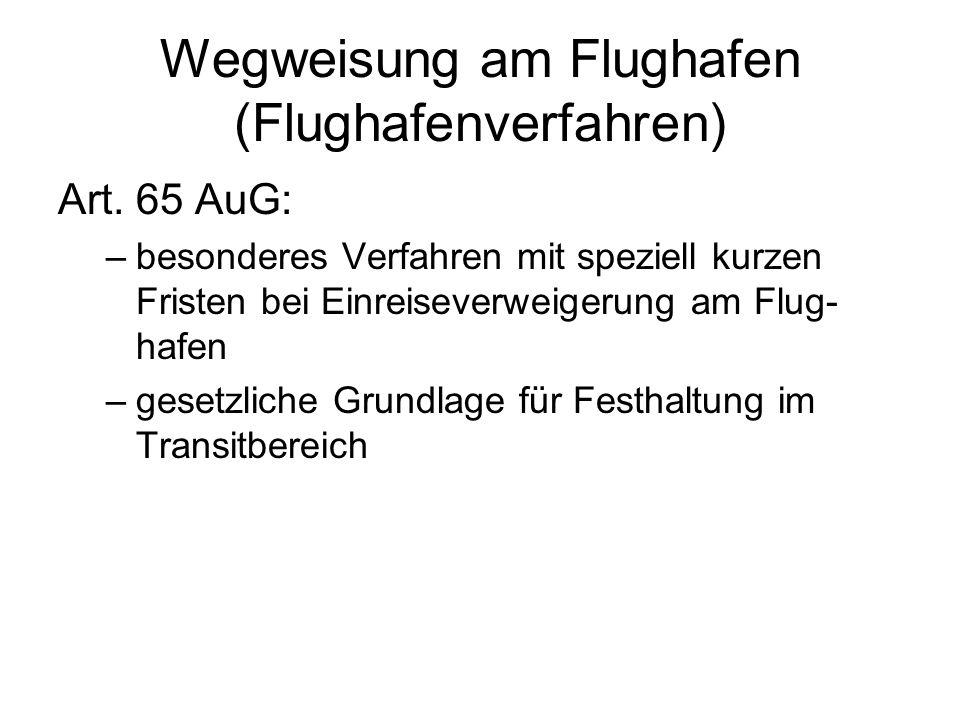 Wegweisung am Flughafen (Flughafenverfahren) Art.