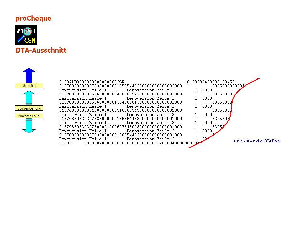 proCheque DTA-Ausschnitt Nächste Folie Vorherige Folie Übersicht
