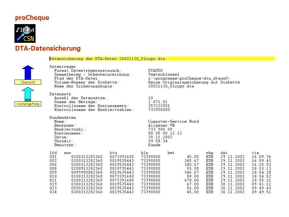 proCheque DTA-Datensicherung Vorherige Folie Übersicht