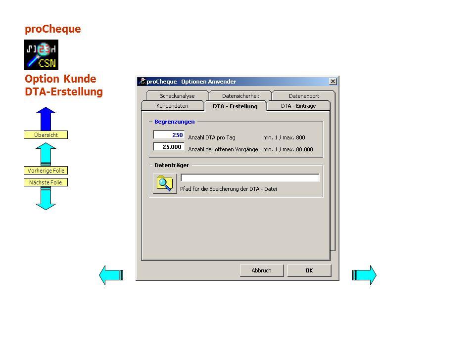 proCheque Option Kunde DTA-Erstellung Nächste Folie Vorherige Folie Übersicht