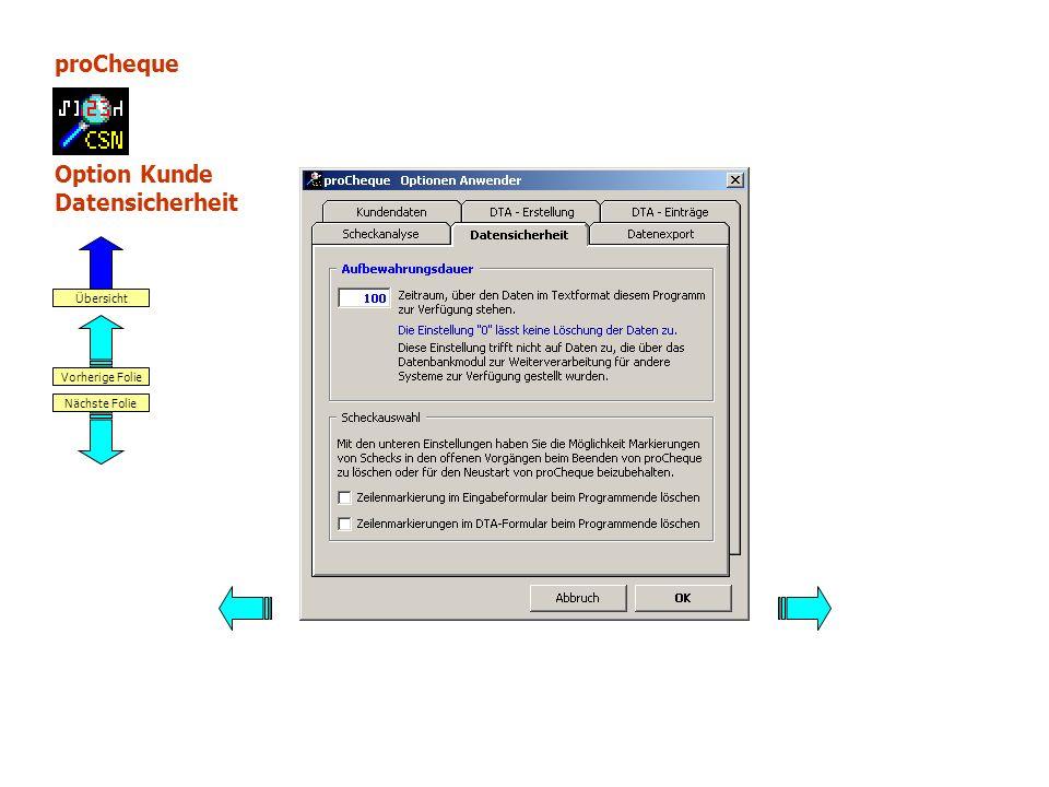 proCheque Option Kunde Datensicherheit Nächste Folie Vorherige Folie Übersicht