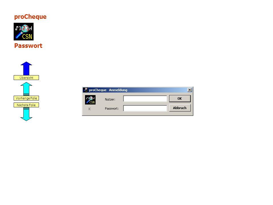 proCheque Passwort Nächste Folie Vorherige Folie Übersicht