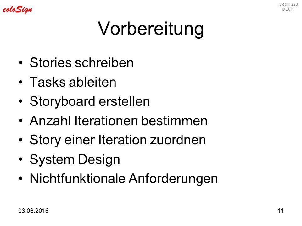 Modul 223 © 2011 coloSign 03.06.201611 Vorbereitung Stories schreiben Tasks ableiten Storyboard erstellen Anzahl Iterationen bestimmen Story einer Iteration zuordnen System Design Nichtfunktionale Anforderungen
