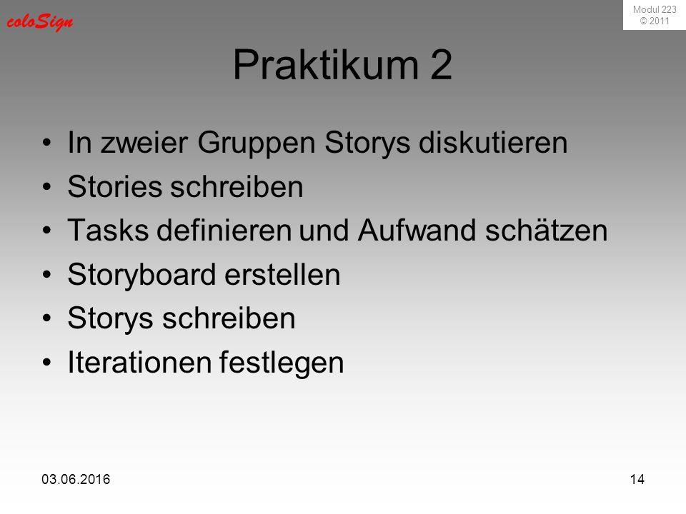 Modul 223 © 2011 coloSign 03.06.201614 Praktikum 2 In zweier Gruppen Storys diskutieren Stories schreiben Tasks definieren und Aufwand schätzen Storyboard erstellen Storys schreiben Iterationen festlegen