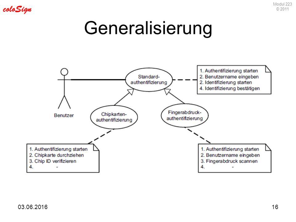 Modul 223 © 2011 coloSign 03.06.201616 Generalisierung