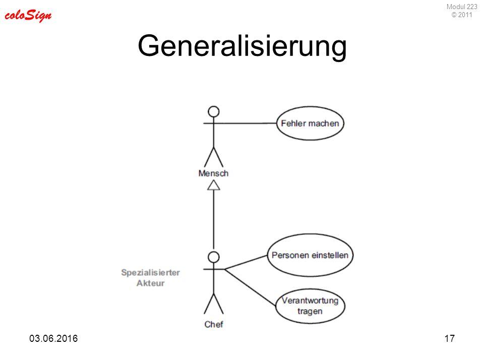 Modul 223 © 2011 coloSign 03.06.201617 Generalisierung