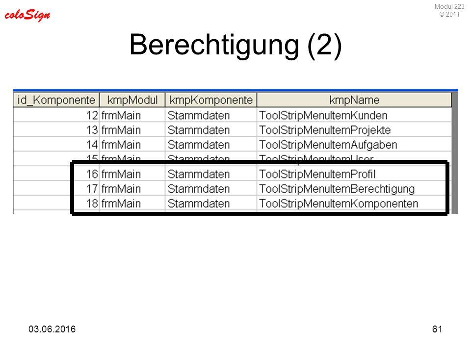 Modul 223 © 2011 coloSign 03.06.201661 Berechtigung (2)