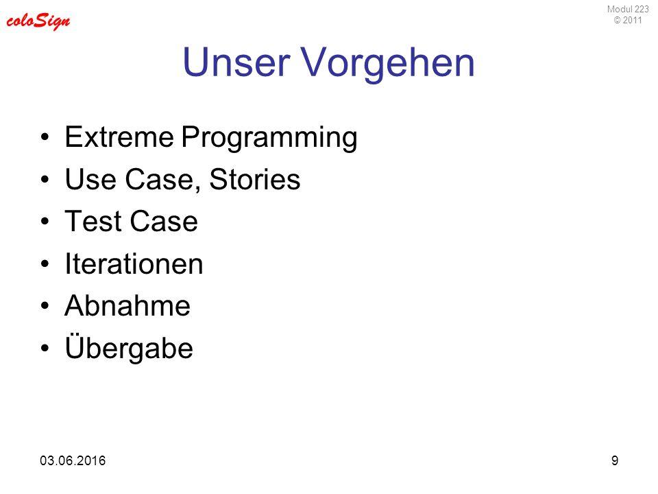 Modul 223 © 2011 coloSign 03.06.20169 Unser Vorgehen Extreme Programming Use Case, Stories Test Case Iterationen Abnahme Übergabe