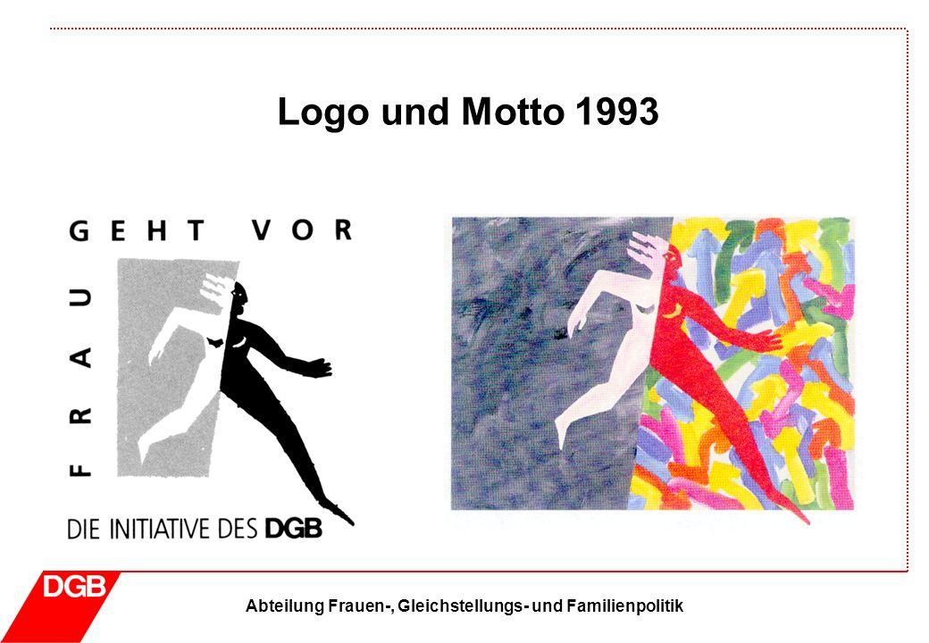 Abteilung Frauen-, Gleichstellungs- und Familienpolitik Logo und Motto 1994