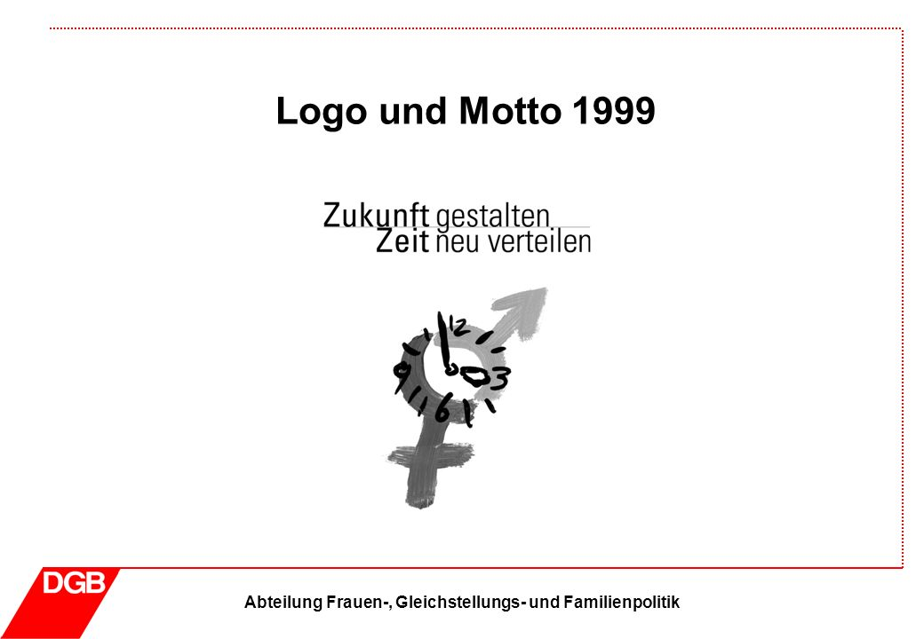 Abteilung Frauen-, Gleichstellungs- und Familienpolitik Logo und Motto 1999