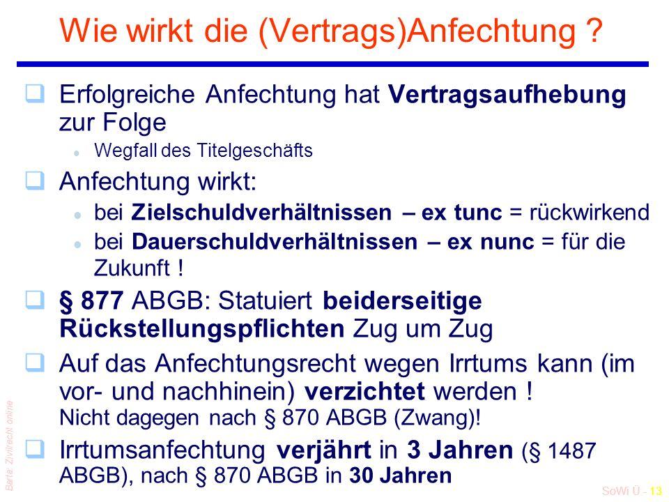 SoWi Ü - 13 Barta: Zivilrecht online Wie wirkt die (Vertrags)Anfechtung .