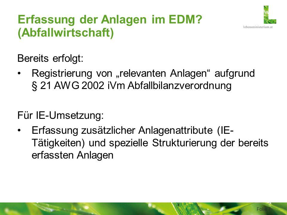 Erfassung der Anlagen im EDM.