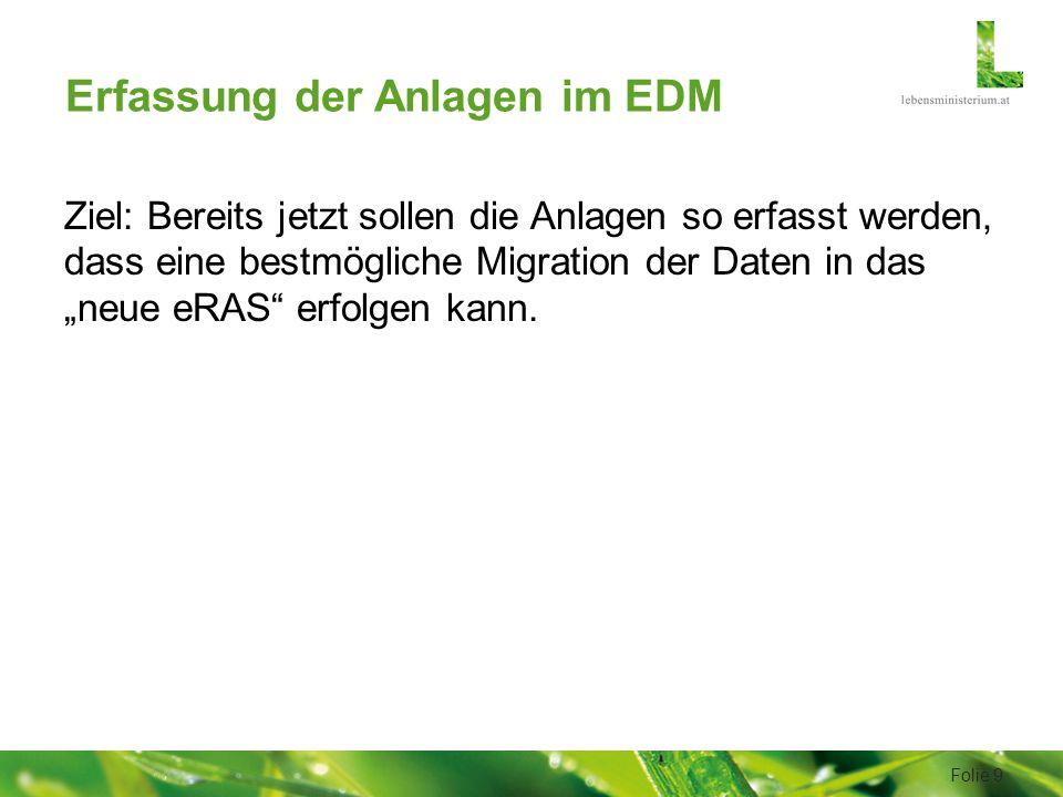 """Erfassung der Anlagen im EDM Ziel: Bereits jetzt sollen die Anlagen so erfasst werden, dass eine bestmögliche Migration der Daten in das """"neue eRAS erfolgen kann."""