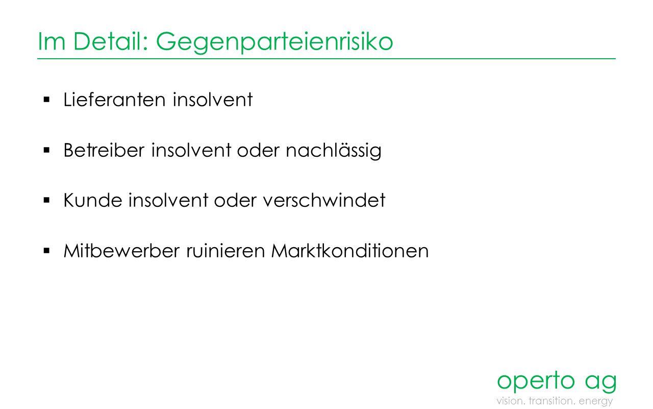 Im Detail: Absatzmärkte  Nachfrageschwund / Einspeisebeschränkung  Kostendegression neuer Anlagen  Marktpreis Lieferung  Werthaltigkeit Anlage operto ag vision.