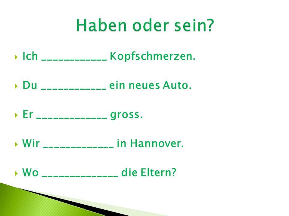  Ich ____________ Kopfschmerzen.  Du ____________ ein neues Auto.  Er _____________ gross.  Wir _____________ in Hannover.  Wo ______________ die
