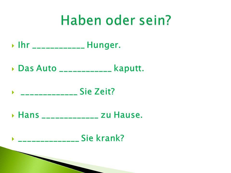  Ihr ____________ Hunger.  Das Auto ____________ kaputt.  _____________ Sie Zeit?  Hans _____________ zu Hause.  ______________ Sie krank?
