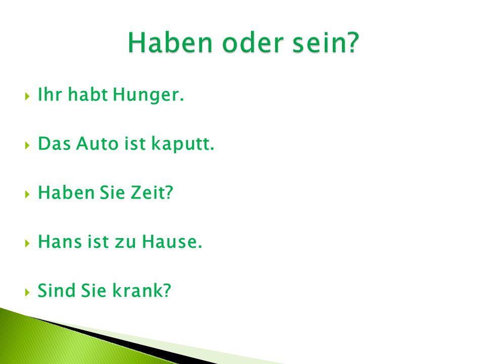 Ihr habt Hunger.  Das Auto ist kaputt.  Haben Sie Zeit?  Hans ist zu Hause.  Sind Sie krank?