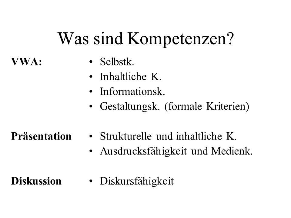 Was sind Kompetenzen. VWA: Präsentation Diskussion Selbstk.