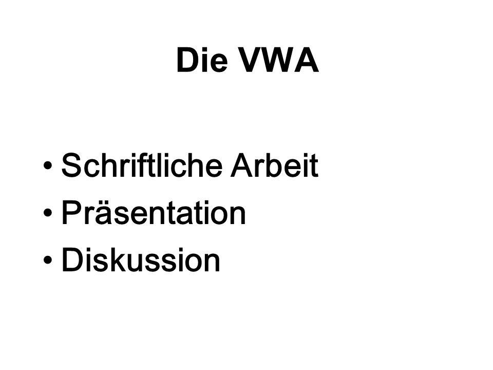 03.06.20162 Die VWA Schriftliche Arbeit Präsentation Diskussion