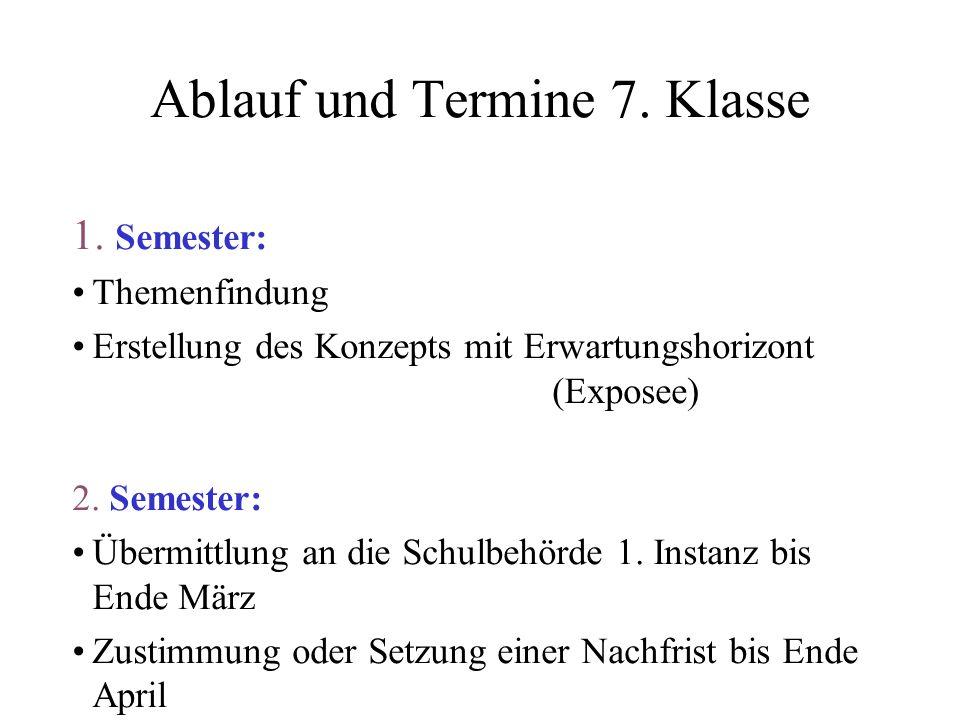 Ablauf und Termine 8.Klasse 1. Semester: Abfassung der Arbeit 2.
