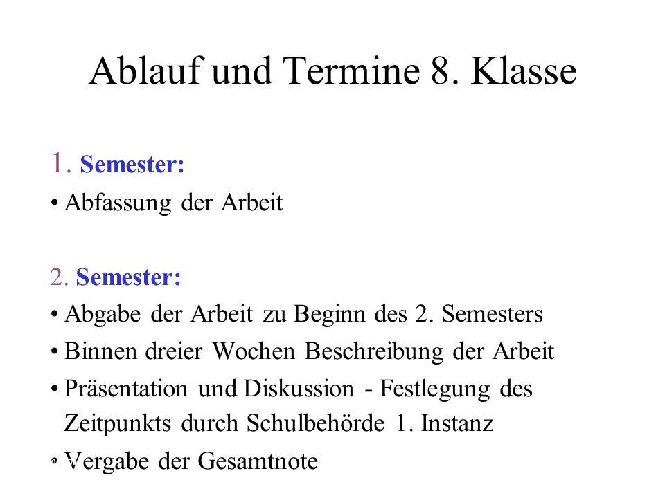 Ablauf und Termine 8. Klasse 1. Semester: Abfassung der Arbeit 2.