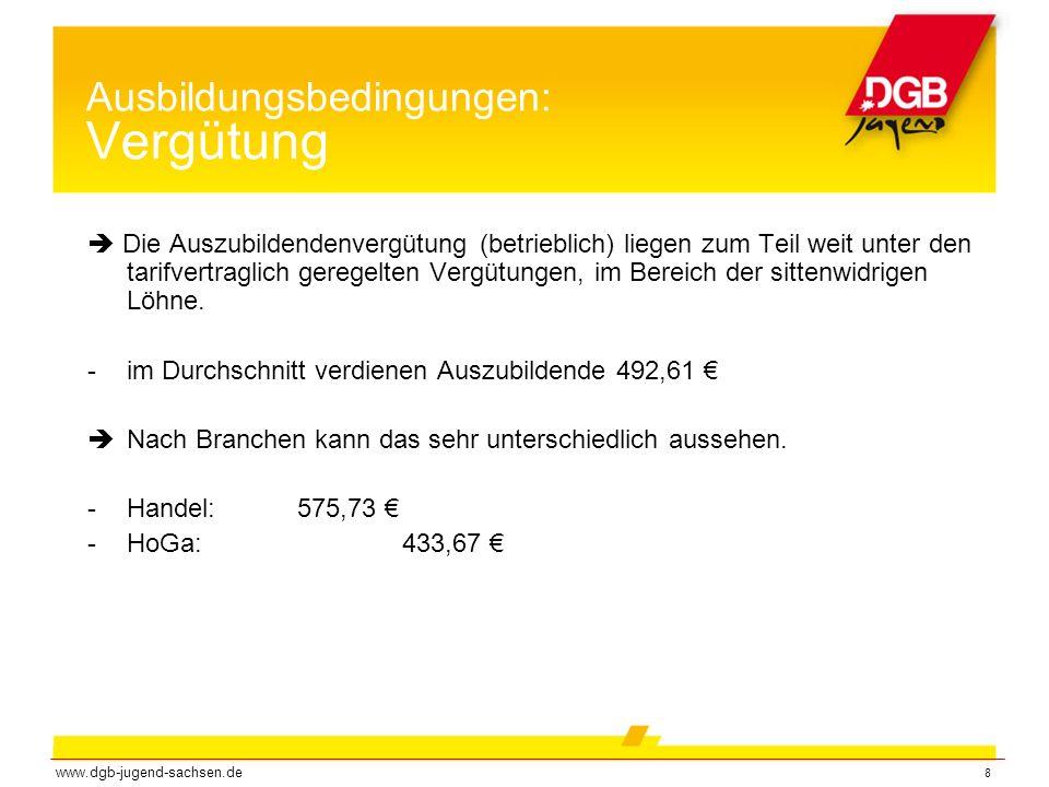 9 Ausbildungsbedingungen: Vergütung und Betriebsgröße www.dgb-jugend-sachsen.de  Je größer der Betrieb, desto mehr Vergütung wird gezahlt (und desto weniger Überstunden müssen geleistet werden.)