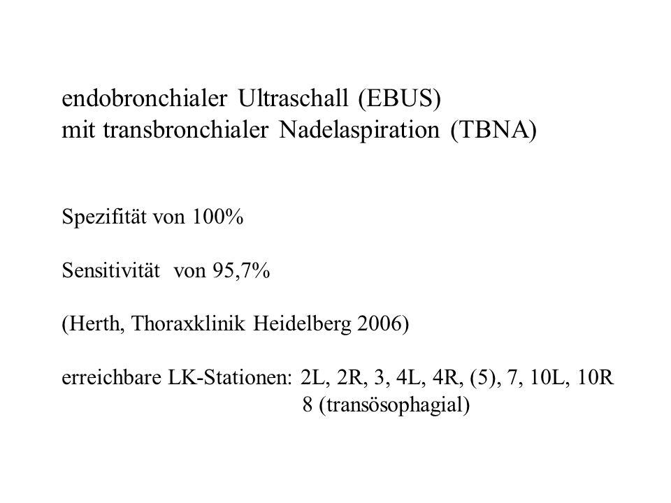 endobronchialer Ultraschall (EBUS) mit transbronchialer Nadelaspiration (TBNA) Spezifität von 100% Sensitivität von 95,7% (Herth, Thoraxklinik Heidelb