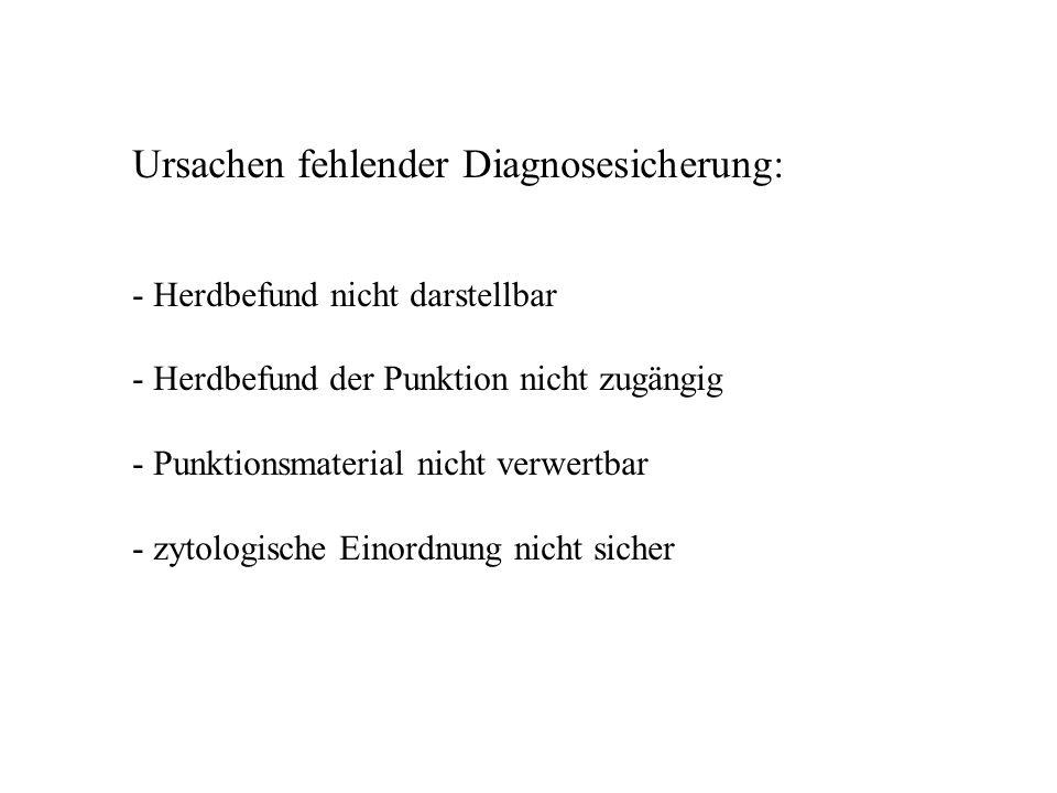 Ursachen fehlender Diagnosesicherung: - Herdbefund nicht darstellbar - Herdbefund der Punktion nicht zugängig - Punktionsmaterial nicht verwertbar - z