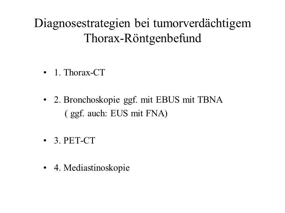 Diagnosestrategien bei tumorverdächtigem Thorax-Röntgenbefund 1. Thorax-CT 2. Bronchoskopie ggf. mit EBUS mit TBNA ( ggf. auch: EUS mit FNA) 3. PET-CT