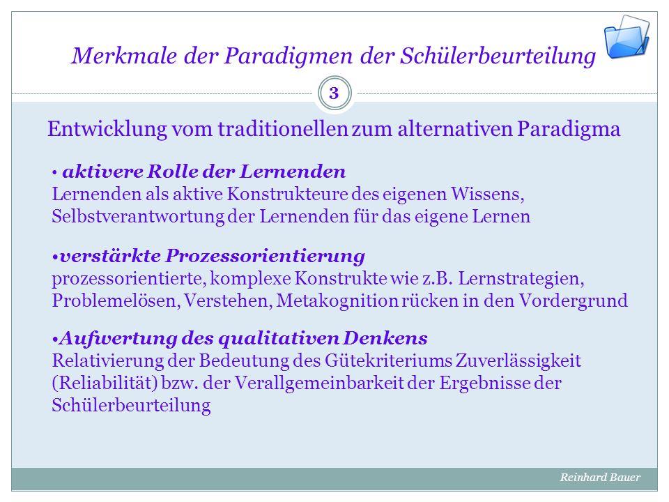 Grundlagen des Portfolio-Ansatzes Erscheinungsbild von Portfolios Konventionelle Portfolios Electronic Portfolios Reinhard Bauer 14